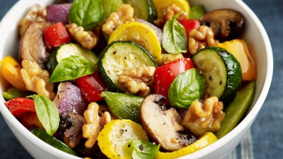 Photo of Roasted Vegetables with Walnuts, Basil and Balsamic Vinaigrette by California Walnuts