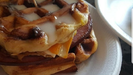 Photo of Cinnamon Roll Waffle Breakfast Sandwich by Kellie Marie