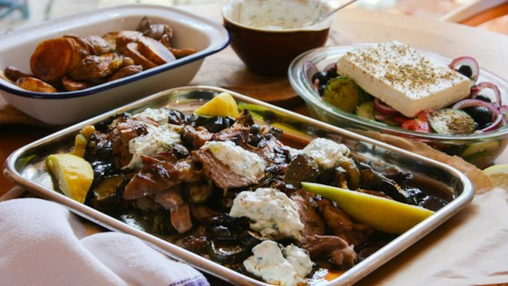 Photo of Roast Greek Lamb with Tzatziki, Roasted Vegetables, and Greek salad by Try This Recipe!