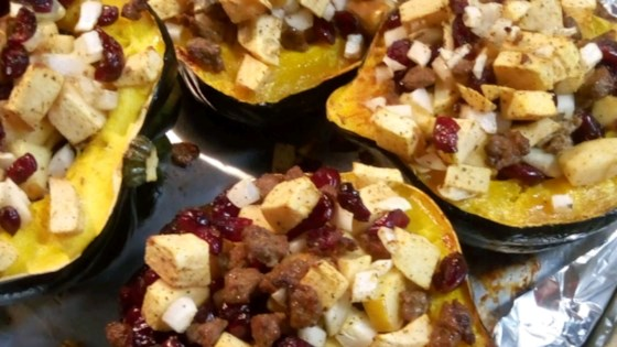 Photo of Apple and Sausage Stuffed Acorn Squash by Chez Christine