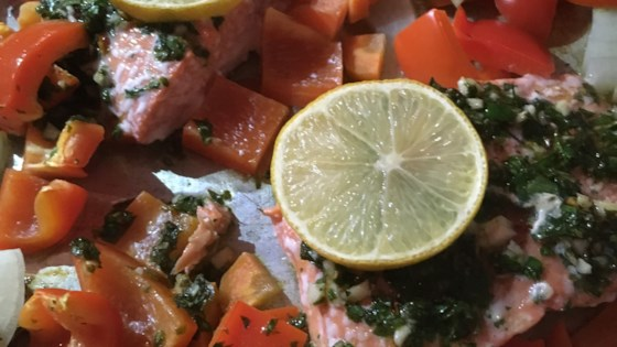 Photo of Sheet Pan Salmon and Bell Pepper Dinner by barbara