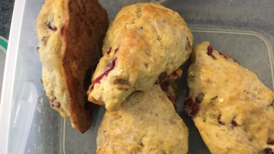 Lemony Cranberry Hazelnut Scones with Lemon Glaze Recipe