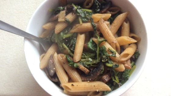 Photo of Vegan Pasta with Spinach, Mushrooms, and Garlic by anna
