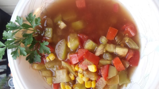 Photo of Green and Red Tomato and Corn Soup by Lalena