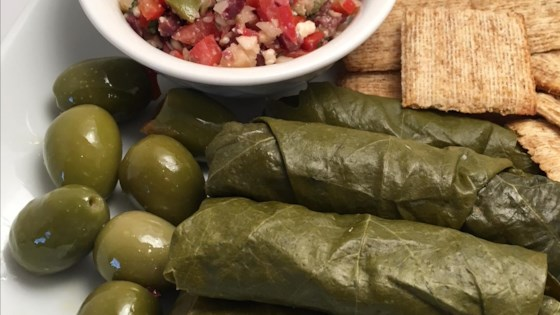 Gorgonzola and Olive Stuffed Grape Leaves