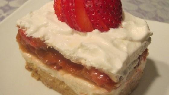Strawberry-Rhubarb and Cream Bars