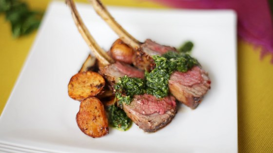 Photo of Spice-Crusted Roast Rack of Lamb with Cilantro-Mint Sauce by brandon