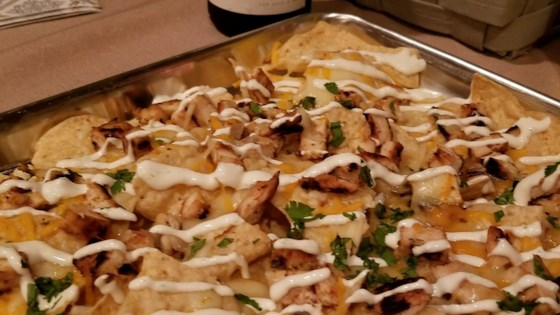 Photo of Grilled Chicken Nachos with Lime Crema by Sharon Dyson-Demers
