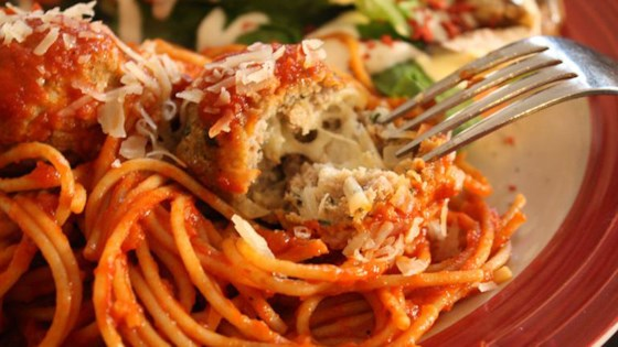 Photo of Mozzarella-Stuffed Pesto Turkey Meatballs by foodie77