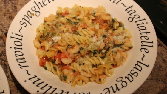 Spicy Shrimp Fettuccine with Garlic and Tomatoes