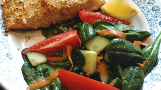 Photo of Almond-Crusted Salmon and Salad by Test2365