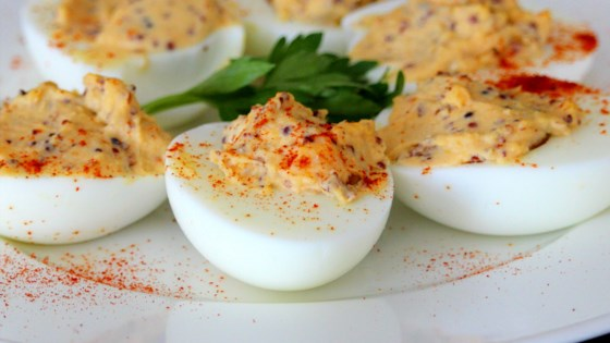 Photo of Sriracha Deviled Eggs by jmacsaunders