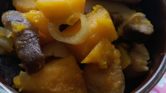 Photo of Simmered Kabocha Pumpkin and Fried Tofu with Sweet Soy Sauce by kyoko