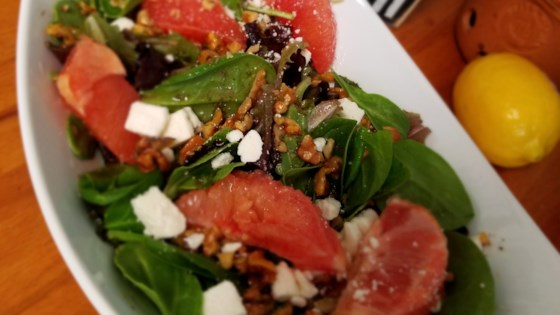 Photo of Citrus Spinach Salad with Feta and Cranberry Dressing by Sahara B