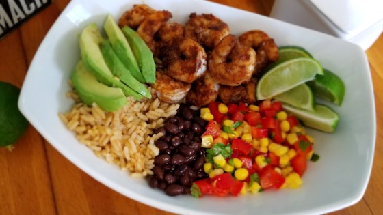 Photo of Grain Bowl with Blackened Shrimp, Avocado, and Black Beans by Sahara B