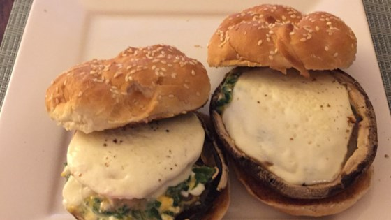 Photo of Portobello Stuffed Mushroom Burger by Questoria