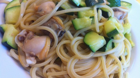 Photo of Pasta with Clams, Zucchini, and Zucchini Blossoms by VitaCavallo