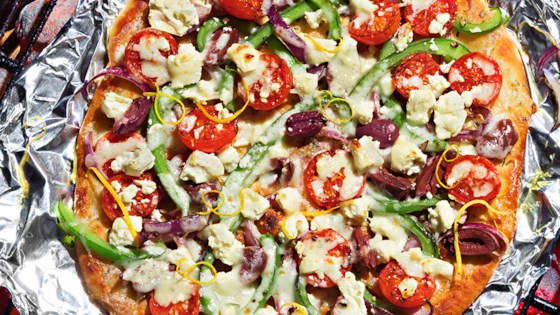 Photo of Greek Grilled Pizza from Reynolds Wrap® by Reynolds Kitchens®