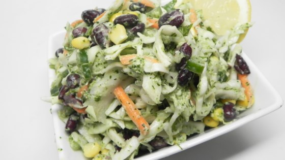 Photo of Vegetarian Taco Slaw with Creamy Cilantro-Lime Dressing by The Sea Salt