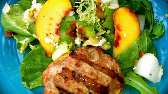 Photo of Peachy Turkey Burger over Greens with Endive, Bacon, Avocado, and Gorgonzola by Jackie Ourman