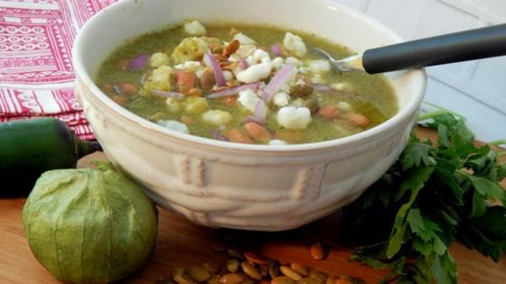 Photo of Vegetarian Pozole Verde (Hominy Soup) by Grace Preya.
