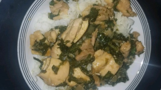 Photo of Asian Chicken Thighs With Mustard Greens by T.J.
