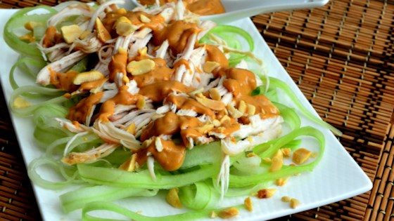 Photo of Cucumber Chicken Salad with Spicy Peanut Dressing by Baking Nana