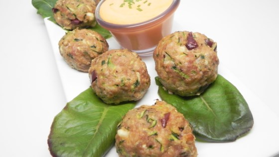 Photo of Turkey Zucchini Meatballs with Roasted Pepper Dipping Sauce by Soup Loving Nicole