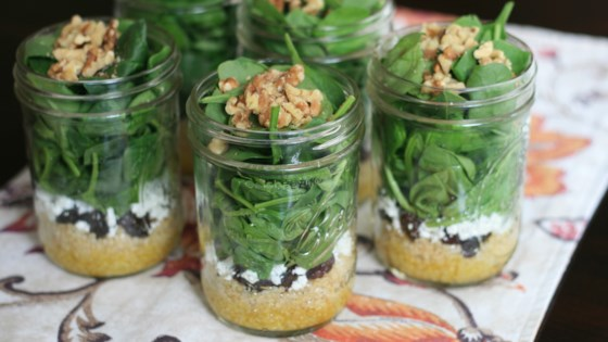 Photo of Make-Ahead Spinach Salad in a Jar by France C.