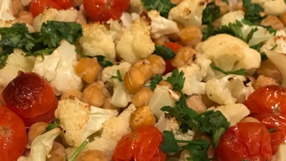 Photo of Easy Vegan Sheet Pan Roasted Cauliflower, Tomatoes, and Garbanzo Beans by Fioa