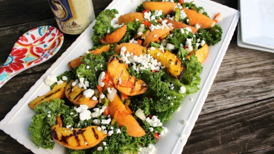 Photo of Warm Grilled Peach and Kale Salad by Chef Mo