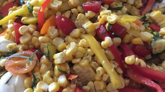 Photo of Grilled Corn Salad with Mozzarella, Bell Peppers, and Cherry Tomatoes by barbara