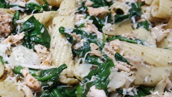 Photo of Salmon Pasta with Spinach and Artichokes by trizzum