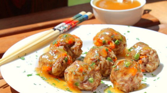 Photo of Pork Fried Rice Meatballs with Homemade Sweet and Sour Sauce by Buckwheat Queen