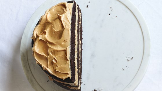 Photo of Mocha Layer Cake with Peanut Butter Frosting by In The Raw
