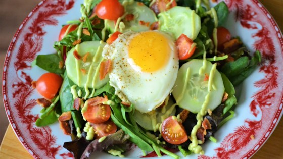 Photo of Bacon and Egg Breakfast Salad with Avocado Dressing by Kim
