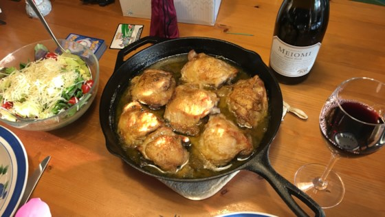 Photo of One-Skillet Crispy Chicken Thighs by Plump@Heart