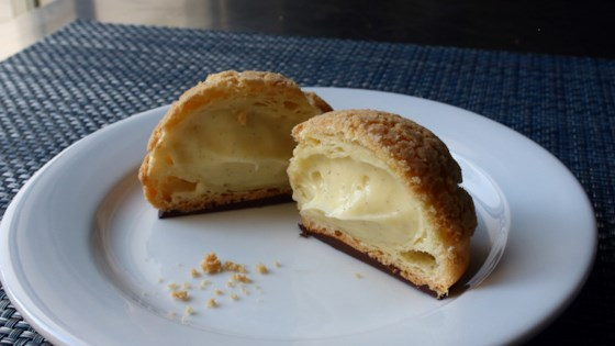 "Photo of Cream Puff ""Crack Buns"" (Choux au Craquelin) by Chef John"