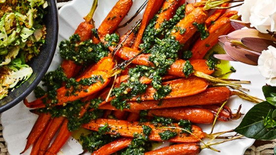 Maple-Roasted Carrots with Carrot-Top Pesto Recipe