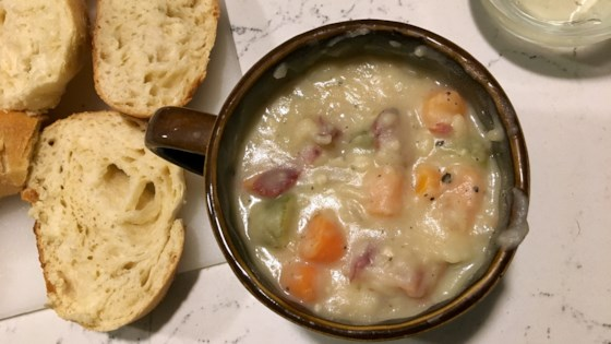Photo of Dairy-Free Creamy Potato Soup with Bacon by Hannah Rose