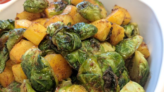 Photo of Sheet Pan Vegan Roasted Brussels Sprouts and Butternut Squash by Fioa