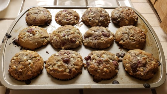 Photo of Raspberry-White Chocolate Chip Muffins  by spaz