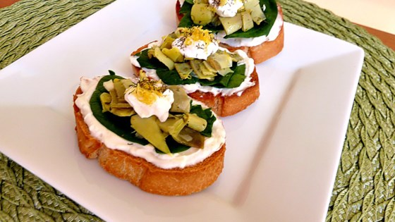 Photo of Artichoke Heart and Chopped Olive Crostini by Charles
