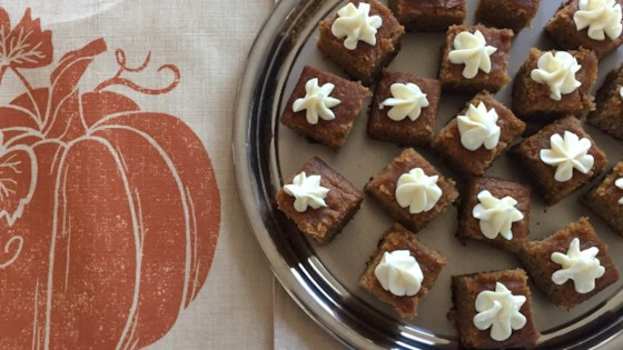 Photo of Dairy-Free, Gluten-Free Pumpkin Bars by momx3pcm
