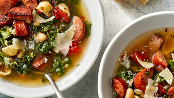 Photo of Smoked Sausage and Tuscan White Bean Soup by Hillshire Farm® Brand