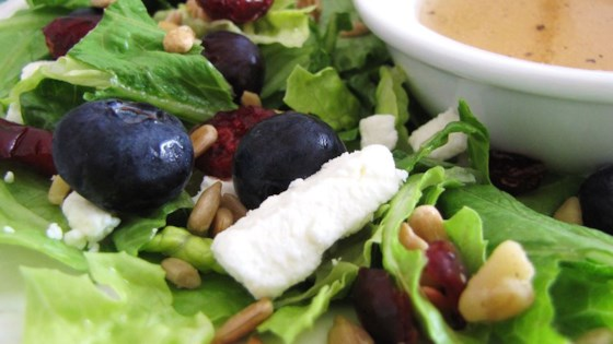 Photo of Deliciously Sweet Salad with Maple, Nuts, Seeds, Blueberries, and Goat Cheese by Monica