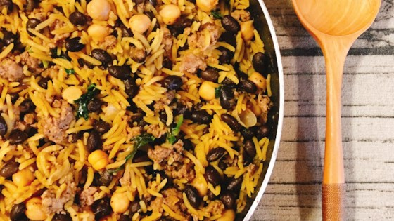 Middle Eastern Rice with Black Beans and Chickpeas Recipe