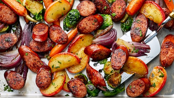 Sheet Pan Smoked Sausage, Apple, and Root Veggie Dinner Recipe