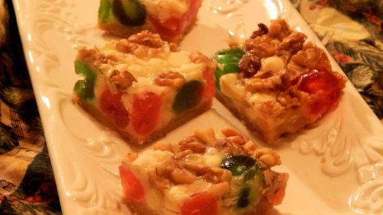 Photo of White Chocolate and Candied Fruit Magic Cookie Bars by Bikeramy