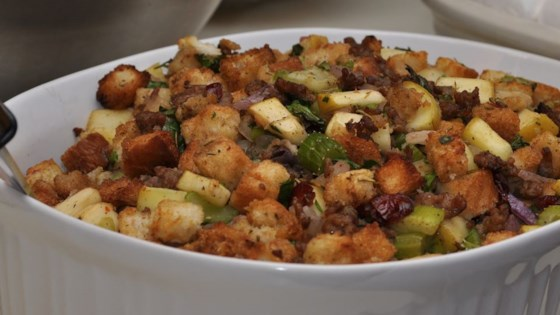 Photo of Cranberry, Sausage and Apple Stuffing by Ibby